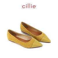 Giày búp bê nữ 1108 - Mũi nhọn phối da lộn - Mang công sở du lịch dạo phố