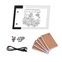 Flip Book Kit with Mini LED Light Pad Hole Design 3 Level Brightness Control Light Box 300 Sheets Animation Paper