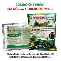 Combo 1 gói Chế phẩm EM gốc và 1kg Nấm đối kháng Trichoderma TRIBAC. Ủ phân cá, rác bã hữu cơ hoai mục nhanh không mùi hôi. Ngăn chặn nấm bệnh gây thối rễ vàng lá