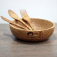 Set Tô gỗ dừa bát gỗ dừa tròn và muỗng gỗ dừa Buzen ( Coconut Wood Bowls)
