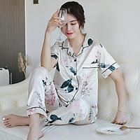 Pijama- Bộ Ngủ lụa áo cộc quần dài nhiều màu vải đẹp sang trọng LCD01