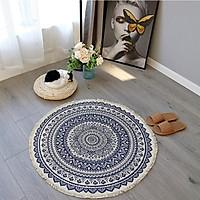 Thảm trải sàn tròn hoa mandala phong cách retro