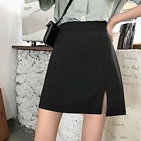 Chân váy chữ A ngắn xẻ trước kèm quần trong 3 màu