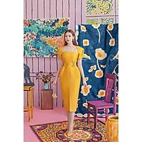 Đầm body dự tiệc cổ vuông kết hoa eo sang trọng TRIPBLE T DRESS - size M/L (kèm ảnh/video thật) MS122Y