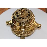 Đỉnh xông trầm bằng đồng vàng dường kính 12cm