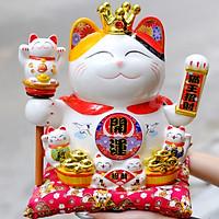 Mèo Thần tài Vương miện Vẫy tay 27cm Mã 3211 - Hũ Mèo