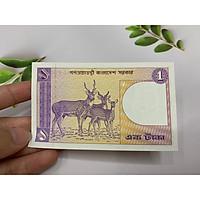 Tờ tiền 1 Taka Bangladesh hình con nai - tặng phơi nylon bảo quản tiền