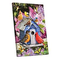 Tranh sơn dầu số hóa tự tô đã căn khung 40x50cm- Y5528 nhà chim mùa xuân