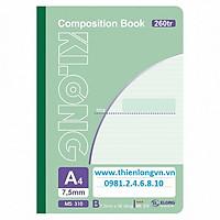Sổ may dán gáy A4 - 260 trang; Klong 310 bìa xanh lá