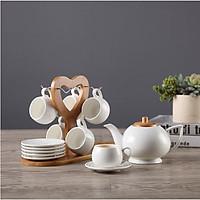 Bộ ấm trà kèm 6 chén trà, dĩa trà và giá gỗ - BAT01
