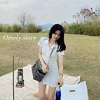 Đầm Polo Cổ Bè Suông Chân Váy Xẻ Đùi Siêu Xinh Cho Nữ
