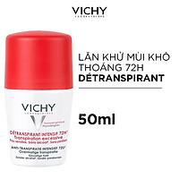 Lăn Khử Mùi Giúp Khô Thoáng Vùng Da Dưới Cánh Tay 72h Vichy Detransprirant Intensif 72h Transpiration Excessive (50ml)