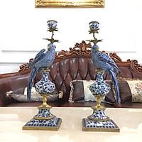 Cặp chân nến hình chim vẹt lông xanh bằng men sứ rạn phong cách tân cổ điển sang trọng