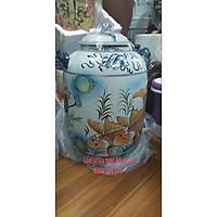 Hũ đựng gạo vẽ cảnh sen cá vàng gốm Gia Hưng Bát Tràng