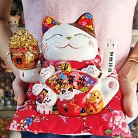 Mèo Thần Tài tay vẫy 18cm Bát Phương Khai Tài mẫu 13 (tặng kèm túi 50 xu vàng mini)