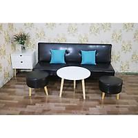 bộ sofa bed phòng khách phiên bản ghế đôn tròn MyHome09