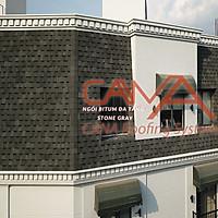 Tấm lợp nhựa đường CANA đa tầng Stone Gray - ngói lợp nhựa đường 2 lớp phủ đá Hàn Quốc cho biệt thự, nhà gỗ, nhà tiền chế đóng gói 14 tấm/2.54m2/gói