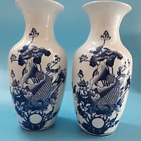 Cặp Lộc Bình, lọ hoa sứ bát tràng cao 38 cm ( cá chép, tùng hạc, chim công,  tùng và hoa mẫu đơn),  (giao ngẫu nhiên)