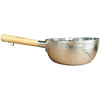 Quánh Nồi Nhôm Green Cook Vân Tuyết Miệng Rót 2 Bên Tay Cầm Bằng Gỗ Tự Nhiên Chắc Chắn - Hàng Chính Hãng