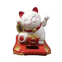 Mèo thần tài trắng đeo bao vàng vẫy tay sử dụng năng lượng mặt trời