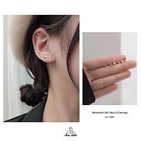 Set 5 khuyên tai nữ cá tính bạc 925 Miuu Silver, bông tai nhỏ đính đá