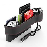 Bộ chia tẩu sạc 2 tẩu + 2 USB kiêm hộc đựng đồ xe ô tô - Hàng nhập khẩu