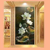 Tranh dán tường 3D hoa sen trắng TDT02