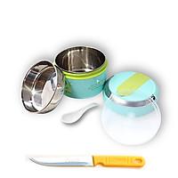Hộp đựng cơm 2 ngăn inox giữ nhiệt có nắp đậy 2 lớp cao cấp tặng dao bếp cán vàng cao cấp HDC01 - Gia dụng bếp