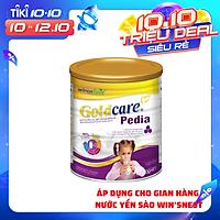Sữa bột Wincofood Goldcare Pedia 900g : dành cho trẻ biếng ăn, chậm lớn ; sản phẩm phù hợp với trẻ  từ 1 tuổi trở lên, bổ sung  FOS giúp trẻ  ăn ngon miệng, DHA , Taurine, Omega giúp phát triển trí não