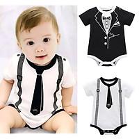Infant Baby Boys Summer Casual Gentleman Style Short Sleeve Romper
