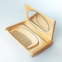 Gương soi mặt và lược chải tóc gọn nhẹ, đẹp, sang trọng, tiện lợi bằng gỗ