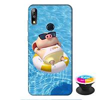Ốp lưng điện thoại Asus Zenfone Max Pro M2 hình Heo Con Tắm Biển tặng kèm giá đỡ điện thoại iCase xinh xắn - Hàng chính hãng