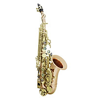 Bb Soprano Saxophone Sax Phosphor Copper Woodwind Instrument With Carry Case Gloves Cleaning Cloth Brush Sax Strap