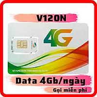 Sim 4G Viettel V120N Tặng 4GB/Ngày, Miễn Phí tất cả các cuộc gọi nội mạng dưới 20 phút, 50 Phút Ngoại Mạng - Hàng Chính Hãng - Màu ngẫu nhiên
