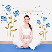 Decal dán tường phòng ngủ hoa xanh mát sang trọng