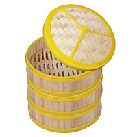 3-Pack Bamboo Steamer Basket For Dumplings Meat Food With Lid Non-Stick Home