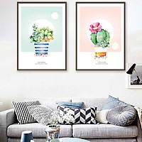 Bộ 2 tranh canvas treo tường Decor Xương rồng dễ thương - DC085