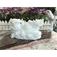 Tượng Long Quy ( Rùa đầu Rồng ) cõng bắp cải phong thủy đá cẩm thạch trắng - Dài 20 cm