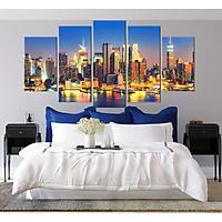 Bộ 5 tranh canvas treo tường phong cảnh thành phố đẹp lộng lẫy - B5T010