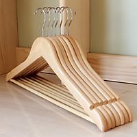 Combo CHỤC móc gỗ treo quần áo có thanh ngang màu vàng nhạt