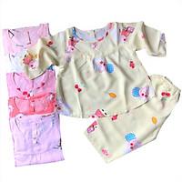 Combo 2 bộ đồ bộ bé gái vải tole, lanh tay dài mềm, mịn, mát size 5-34 kg