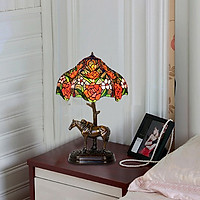 Đèn bàn trang trí Tiffany chao đường kính 30cm chân chú ngựa đồng cao cấp