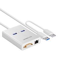 Dây Cáp Chuyển USB 3.0 Ra VGA Kèm 2 Đầu USB 3.0 Tích Hợp LAN Gigabit Ugreen 40242 - Hàng Chính Hãng