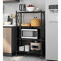 Kệ để đồ đa năng- Giá để đồ nhà bếp 4 tầng có bánh xe, có thể gấp gọn inox sơn tĩnh điện