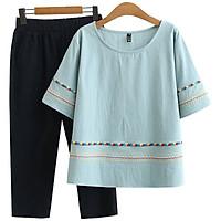 Đồ bộ nữ chất đũi cao cấp thêu họa tiết đơn giản 3 màu thanh lịch kín đáo,full size 30-90kg (T43)