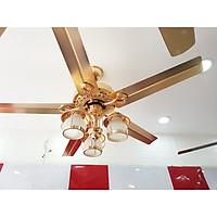 Quạt Trần Đèn trang trí 7057- 3 chao đèn , màu vàng 18k siêu sang trọng