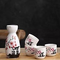 Bộ bình ly uống sake họa tiết hoa đào (1 bình 4 ly)