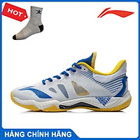 Giày cầu lông chuyên nghiệp dành cho thi đấu, Giày Lining nam AYAR001-2 màu trắng pha xanh - tặng tất thể thao bendu
