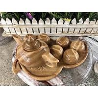 Bộ ấm trà với dĩa kiểu chếc lá đá cẩm thạch vân gỗ