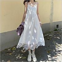 Đầm/Váy hai dây trắng phối ren tiểu thư